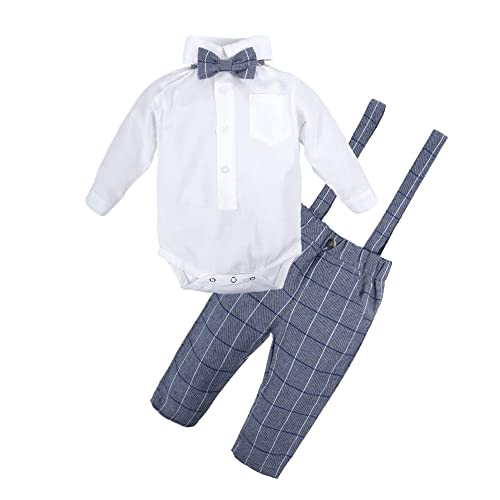 2b3263efed8c BIG ELEPHANT 2 Pieces Baby Boys Long Sleeve Shirt Suspender Pant Set with  Bowtie Q21