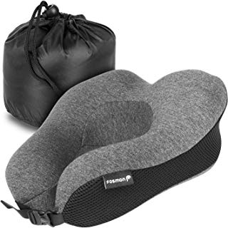 Fosmon Travel Pillow, Soft and Comfortable Memory Foam Travel Neck Pillow,Head and Chin Support Neck Cushion, Machine Washable 100% Cotton Cover for Traveling Flying Airplane Flight Car Bus Train Ride