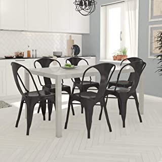 DHP Rectangular Taupe Table with Black Metal Chairs, 7 Piece Dining Set,