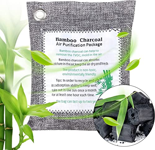 T-SUN 200g Natural Air Purifying Bag, Bamboo Charcoal Air Freshener, Odor Absorber and Air Purifier Reusable for Car,...