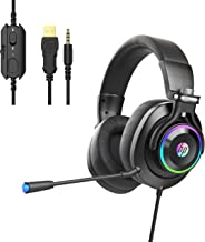 HP Wired Gaming Headphones Xbox One Headset with Surround Sound, RGB LED Lighting, Noise Isolating Over Ear Gaming Headset...