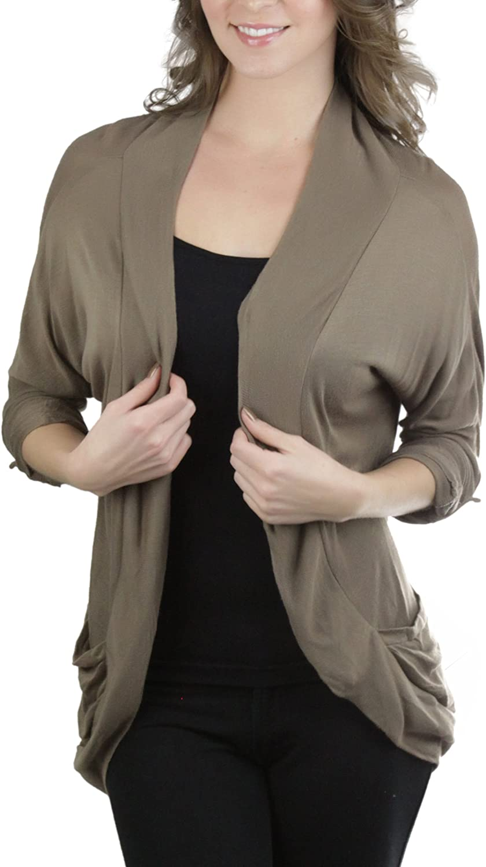 ToBeInStyle Women's Roll-Up Sleeve Open Cardigan