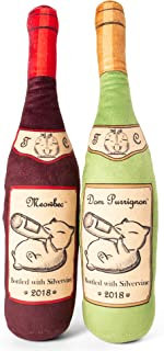 Twin Critters Organic Silvervine Catnip Toy Wine Bottle Refillable Plush 2-Pack for Cats & Kittens No Artificial Ingredients - More Powerful Than Catnip - Great Gift for Wine Lovers