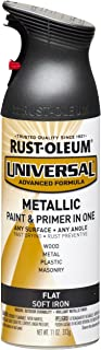 Rust-Oleum 271473 Universal All Surface Spray Paint, 11 oz, Flat Metallic Soft Iron, 11-Ounce,