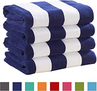 Great Bay Home 4 Pack Plush Velour 100% Cotton Beach Towels. Cabana Stripe Pool Towels for Adults. (Navy, 4 Pack- 30