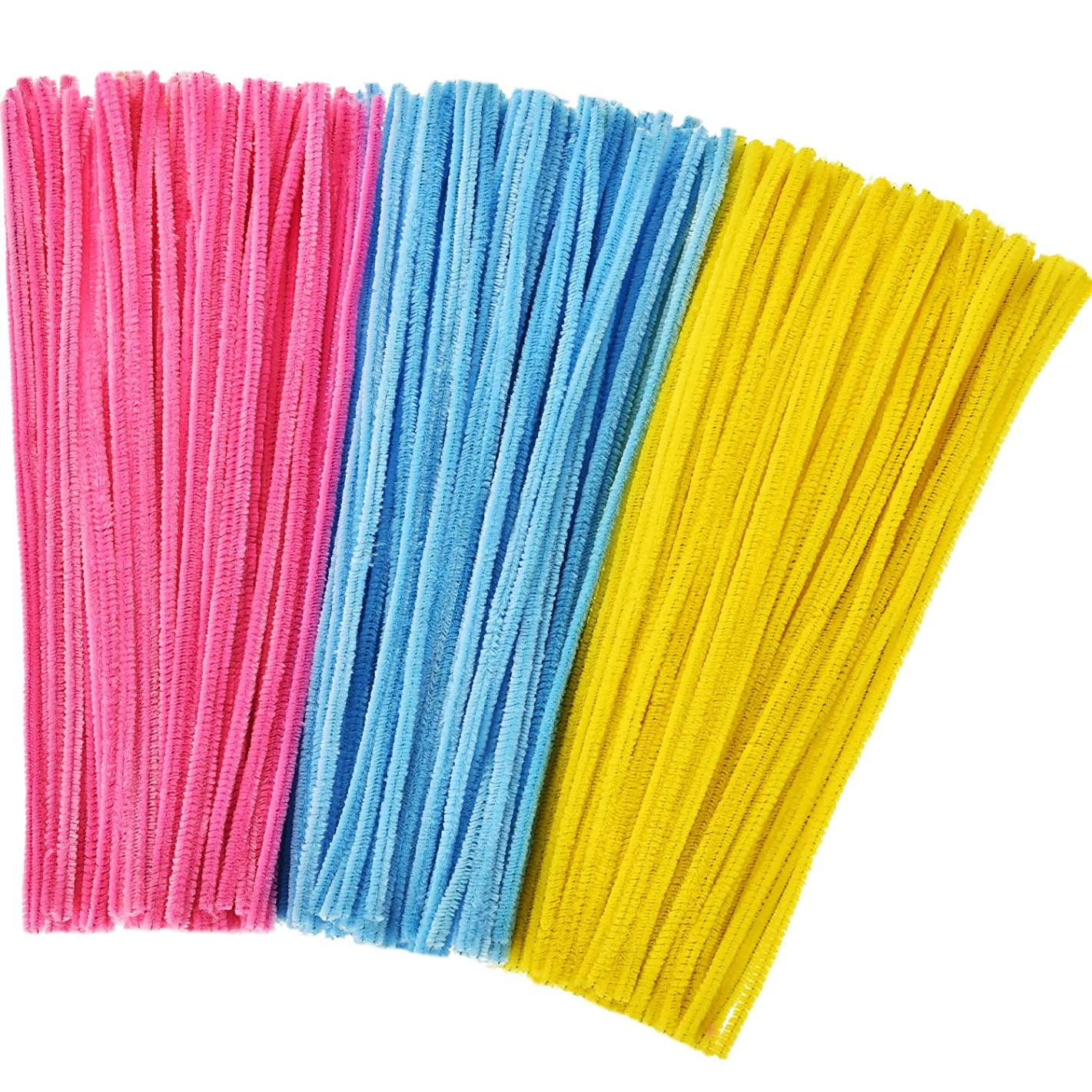 Tatuo 300 Pieces Easter Chenille Stems 12 Inches by 6 mm Pipe Cleaners DIY Art Craft Supplies Decorations (Pink, Yellow and Blue)
