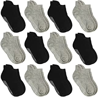 Anti Slip Non Skid Ankle Socks With Grips for Baby Toddler Kids Boys Girls