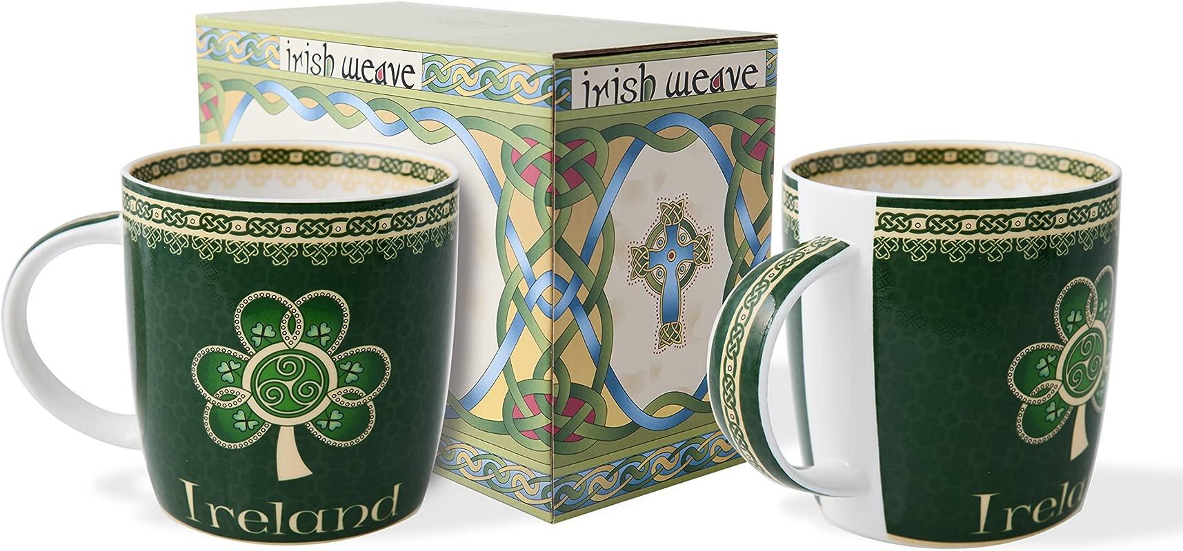 Rish Shamrock Spiral Mug Set Of Two With Irish Celtic Weave Gift Box