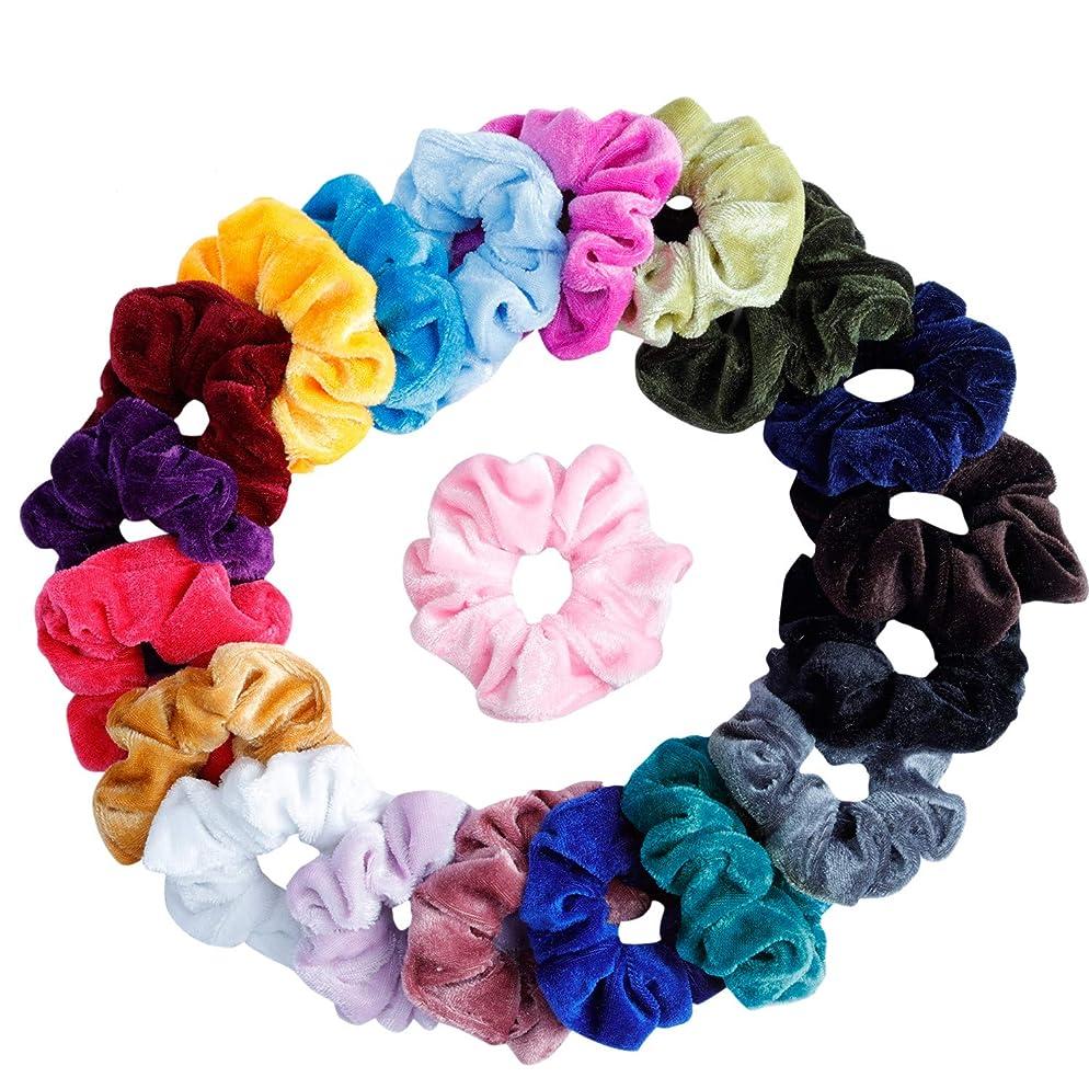 Mandydov 20 Pcs Hair Scrunchies Velvet Elastic Hair Bands Scrunchy Hair Ties Ropes Scrunchie for Women or Girls Hair Accessories - 20 Assorted Colors Scrunchies.
