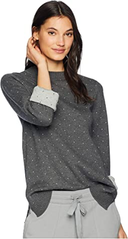 Luxe Cotton Blend Reversible Polka Dot Bell Sleeve Mock Neck Pullover