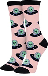 HAPPYPOP Women Girls Alien Unicorn Pug Socks, Novelty Crazy Space Crew Socks Gifts