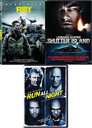 Pitt of Fury Brad NonStop Triple Feature DVD Run All Night + Martin Scorsese Shutter Island Leonardo DiCaprio Pack Movie Set