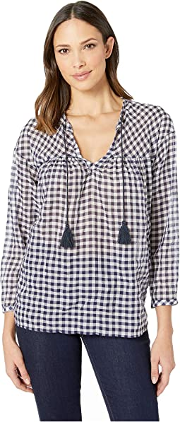 Crinkle Gingham Pullover Top With Tassels