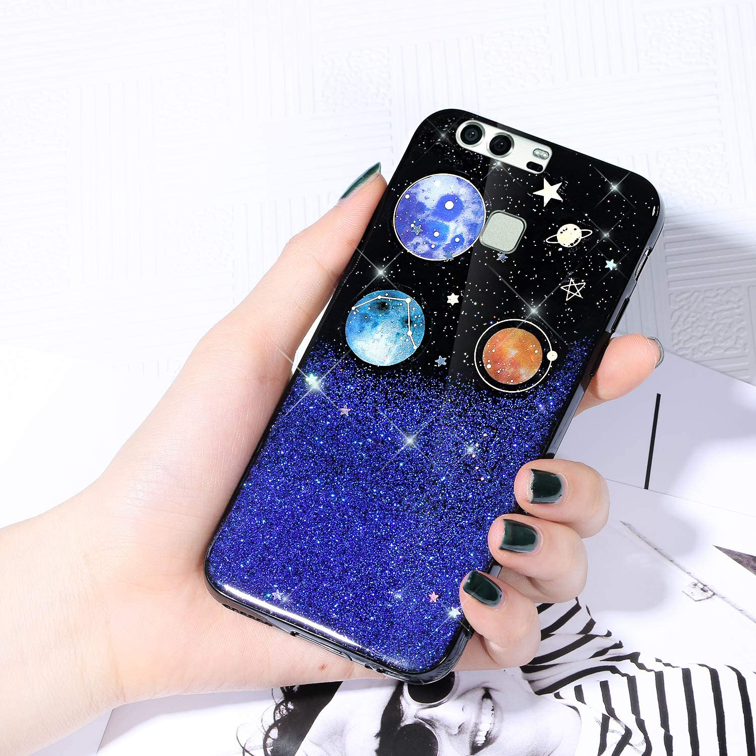 Case for Max 87% OFF Huawei P9 Cover Glitter Shiny Starry Sky S Detroit Mall Sparkle