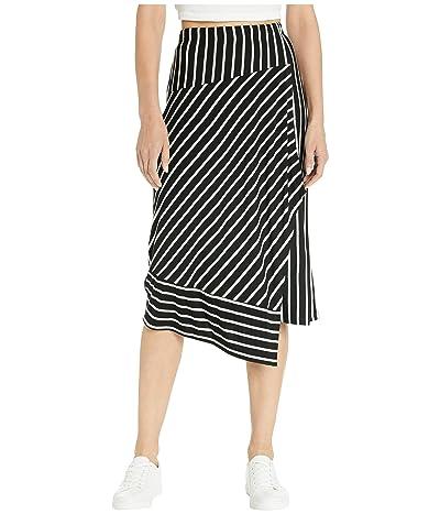kensie Lightweight Viscose Spandex Printed Strip Faux Wrap Skirt KS7K6275 (Black Combo) Women