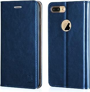 Belemay iPhone 7 Plus Wallet Case, Genuine Cowhide Leather Flip Case [Slim Fit] Folio Cover [Shockproof Soft TPU Inner Case] Card Holder Slots, Kickstand, Cash Pockets Compatible iPhone 7 Plus, Blue