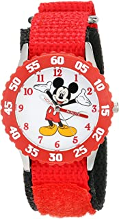 Disney Kids' W001573 Time Teacher Mickey Mouse Stainless Steel Watch with Red Nylon Strap