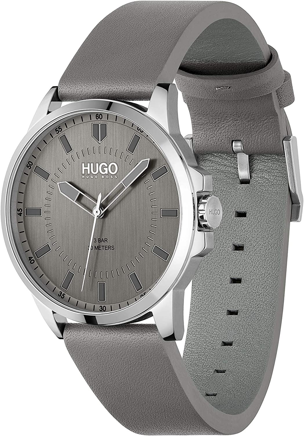 HUGO Mens Stainless Steel Quartz Watch with Leather Strap, Grey, 22 (Model: 1530185)