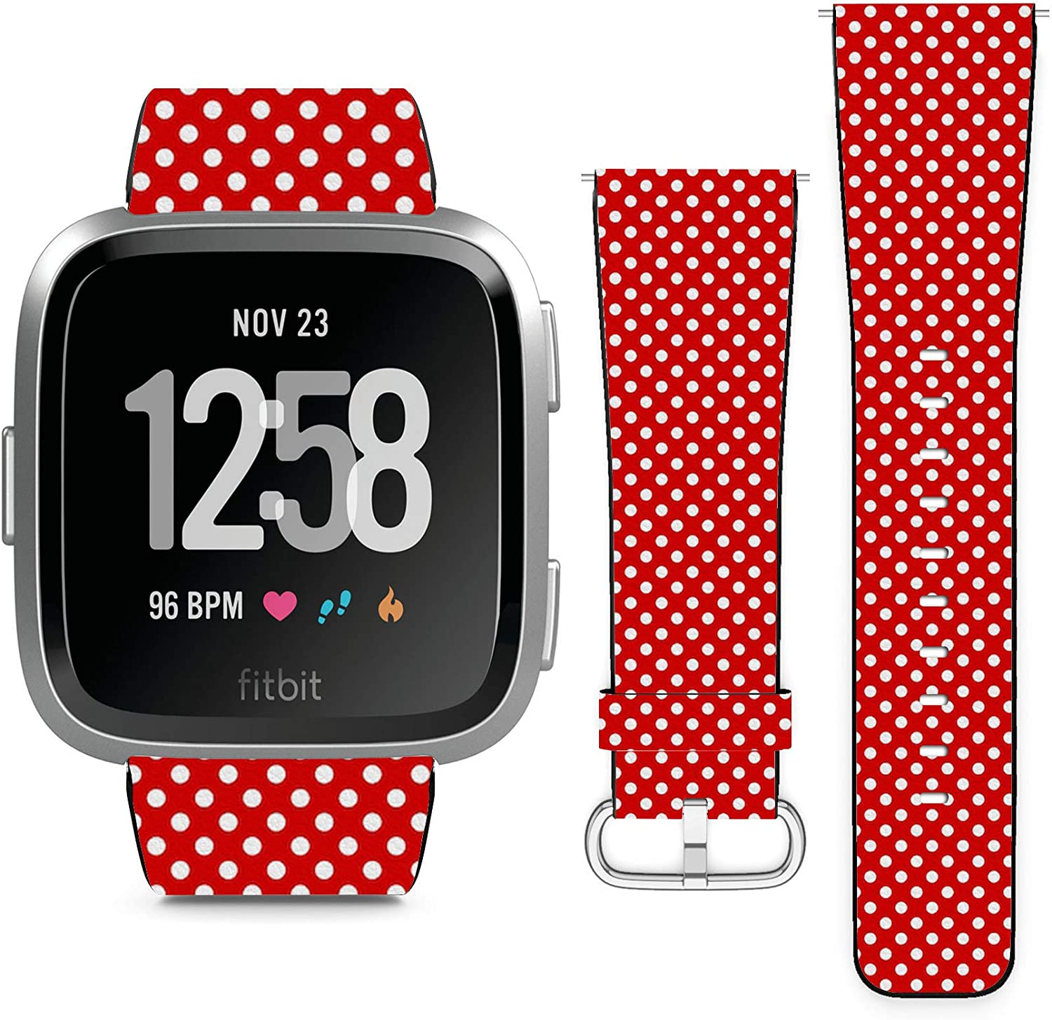Compatible with Fitbit Versa, Versa 2, Versa Lite, Leather Replacement Bracelet Strap Wristband with Quick Release Pins // Polka Dot