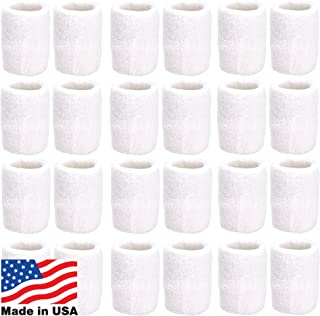 Unique Sports Athletic Performance Team Pack of 24 Wristbands (12 pair),  White
