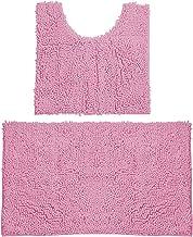 Bathroom Rugs Chenille Bath Mat Set, Soft Plush Non-Skid Shower Rug +Toilet Mat. (Pink)