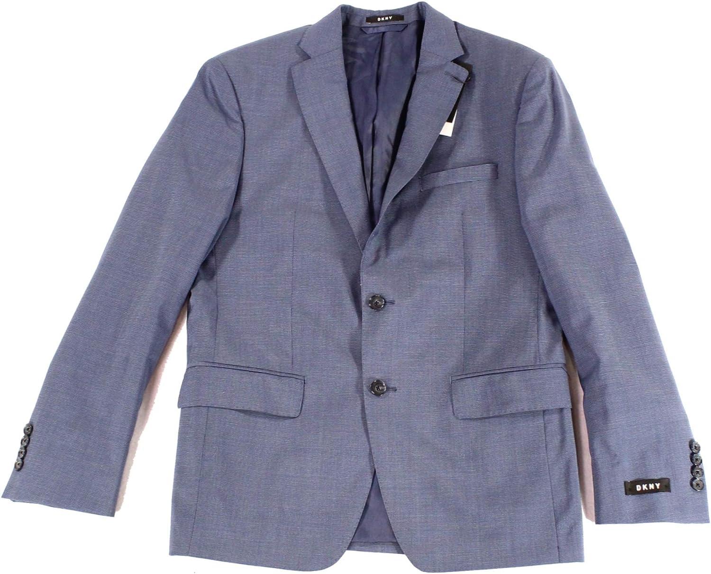 DKNY Mens Neat Suit Two Button Blazer Jacket blue 38