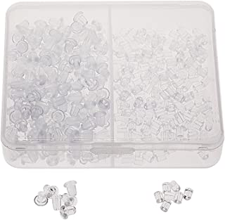 Shapenty 400PCS/200Pairs Clear Color Plastic Rubber Clutch Earring Safety Back Stopper Replacement Set for Fish Hook Earri...
