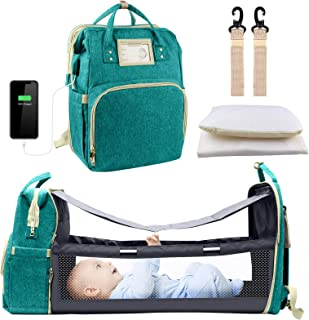 Diaper Bag Backpack, Baby Nappy Changing Bags with Bassinet 3 in 1 Multifunction Waterproof Travel Back Pack with Changing...