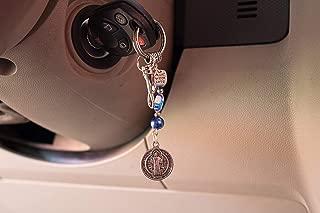 Saint St Benedict Pendant Keychains for Women and Men Catholic Bag Charms Purse Accessories Gemstone Catholic Gift Religious Spiritual San Benito /K100BLUE