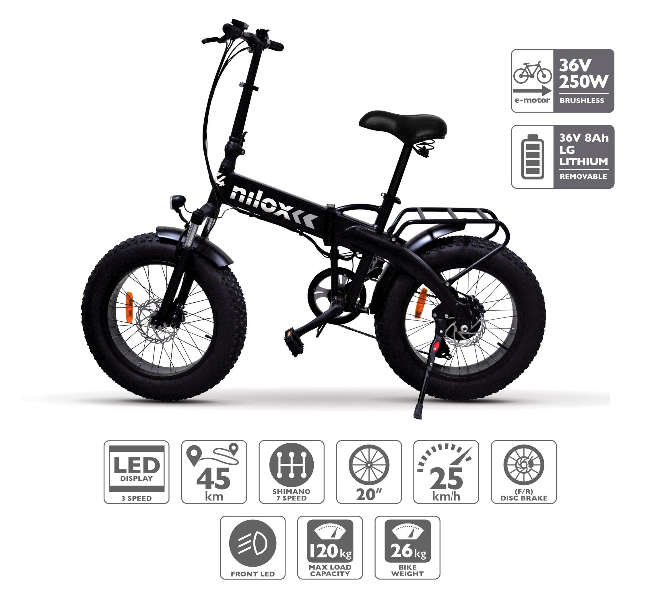 Nilox 30NXEB207V001 Bicicleta, Unisex Adulto, Negro, Talla Única: Amazon.es: Deportes y aire libre