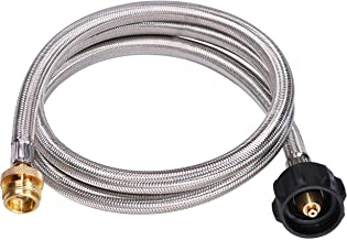 DozyAnt 5 Feet Stainless Steel Braided Propane Adapter Hose 1 lb to 20 lb Converter Replacement for QCC1 / Type1 Tank Connects 1 LB Bulk Portable Appliance to 20 lb Propane Tank - Safety Certified