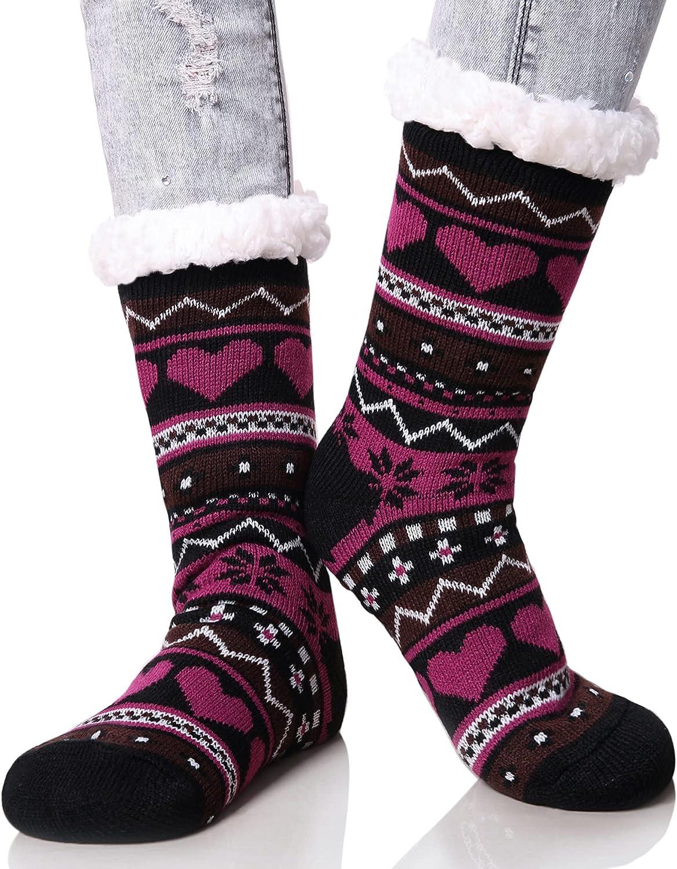 Dosoni Women's Winter Snowflake Fleece Lining Knit Thick Warm Christmas Slipper Socks