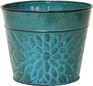 """Robert Allen MPT02005 Laurel Series Metal Planter Flower Pots, 6"""", Lagoon"""