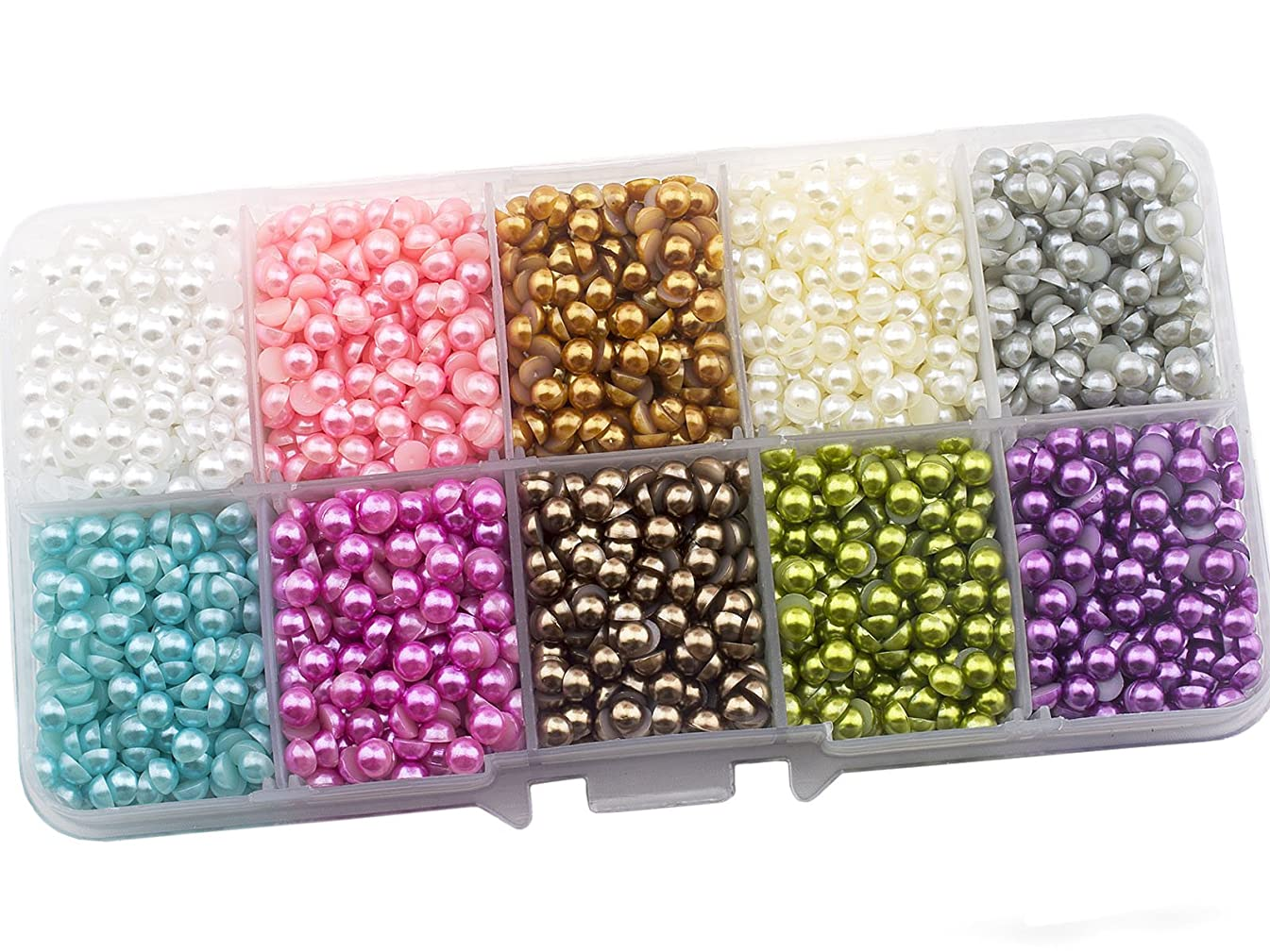 Summer-Ray 4mm Assorted Color Flat Back Pearl in Storage Box (Color Collection #3)