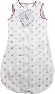 SwaddleDesigns Microfleece Sleeping Sack with 2-Way Zipper, Pastel Pink and Sterling Dots, 12-18MO