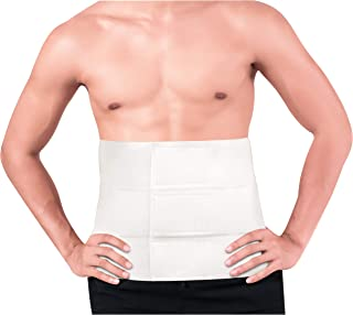 Abdominal Binder Post Surgery, Postpartum Compression Belly Wrap Band - Waist Trainer for Men and Women (S/M) White