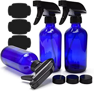 Blue Glass Spray Bottles 8oz ULG 3 Piece Boston Round Cobalt Blue Empty Bottles Heavy Duty Black Trigger Sprayer Mist and Stream Settings Refillable Container for Essential Oils or Cleaning Products