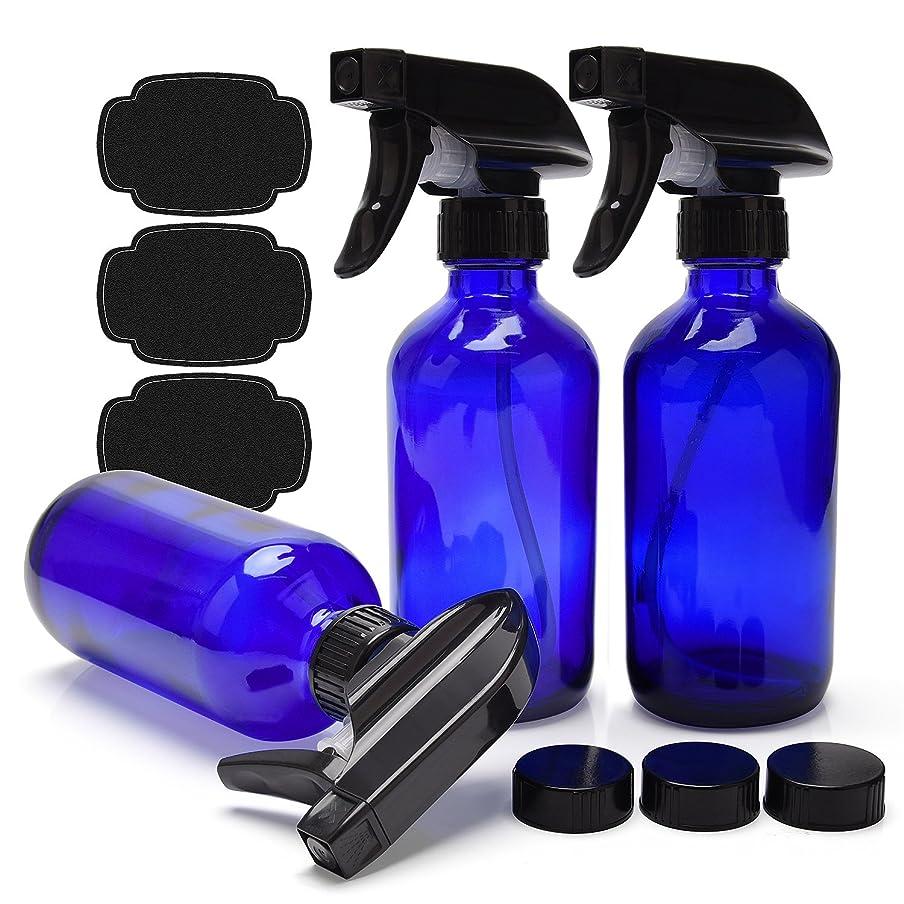 ライセンス形式スリップULG 青いガラス スプレーボトルエッセンシャルオイルまたはクリーニング製品 用 空 3枚ボストンラウンドボトルヘビーデューティー黒トリガースプレーミストやストリーム 設定 8オンス コバルトブルー
