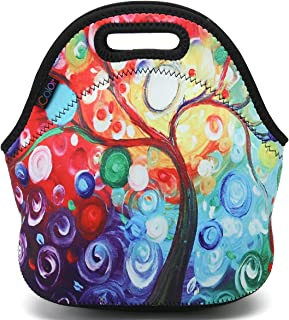 ICOLOR Colorful Tree Insulated Neoprene Lunch Bag Tote Handbag lunchbox Food Container..