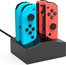 JoyCon Charging Dock Station Stand for Nintendo Switch 4 in 1 USB Powered Nintendo Switch Charger Dock Station with LED Indication Nintendo Switch Charger for Nintendo Switch Joycon Controllers-Black
