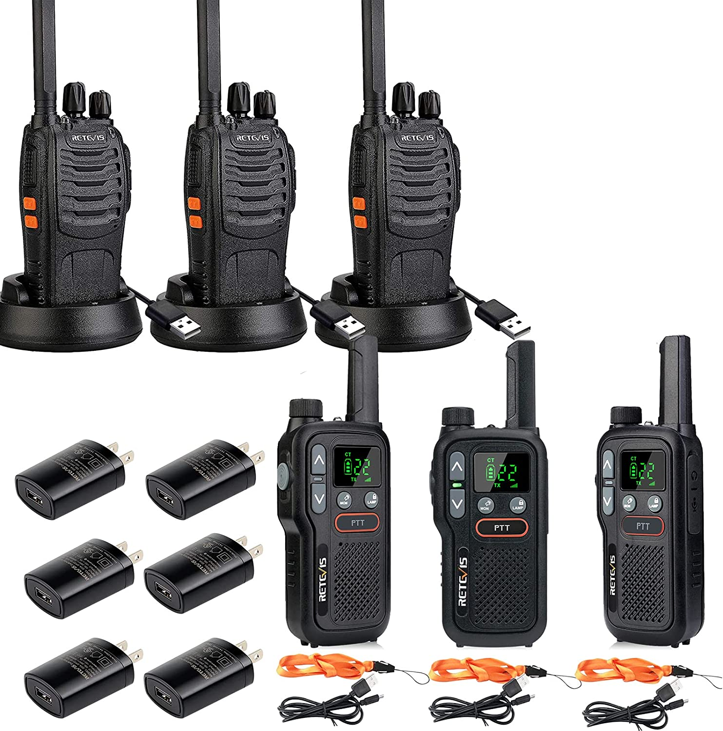 Retevis H-777 Walkie Talkies for Adults Fort Worth Mall Emergency Flashlight Year-end annual account Two