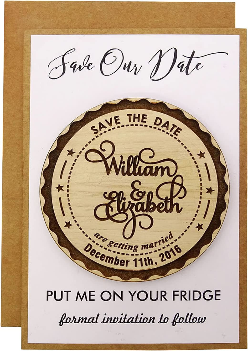 Custom All items free shipping Max 64% OFF Engraved Wooden Magnet Personalized Rustic 20 Gift Weddin