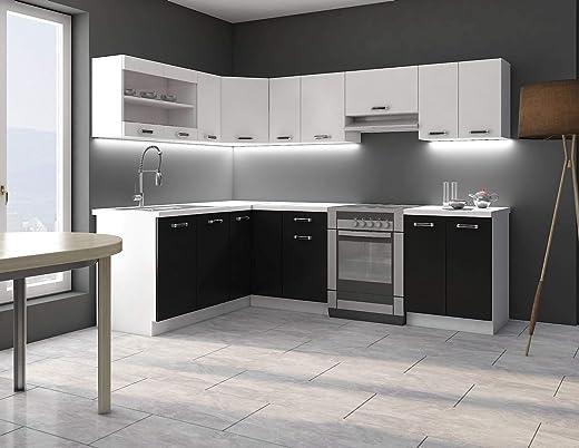 Eckküche Küche Omega 170×250 cm Küchenzeile Küchenblock Winkelküche Schwarz Weiß