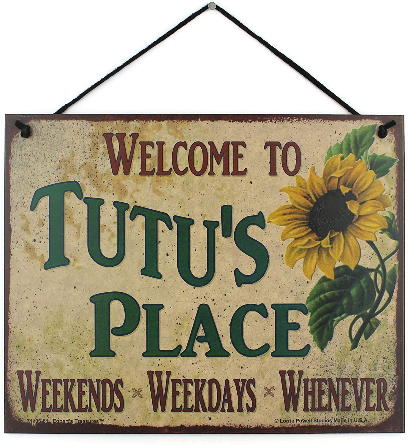 Egbert's Treasures 8x10 Vintage Style Gorgeous Luxury with Saying Sign Sunflower