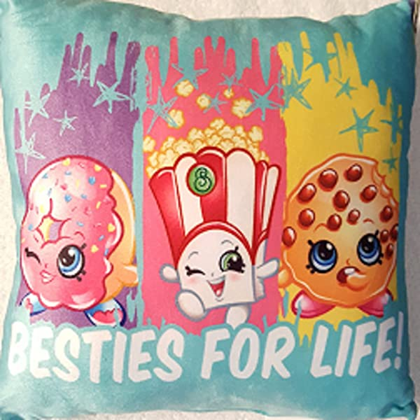 Shopkins Besties For Life Throw Pillow Blue With Shopkin Faces