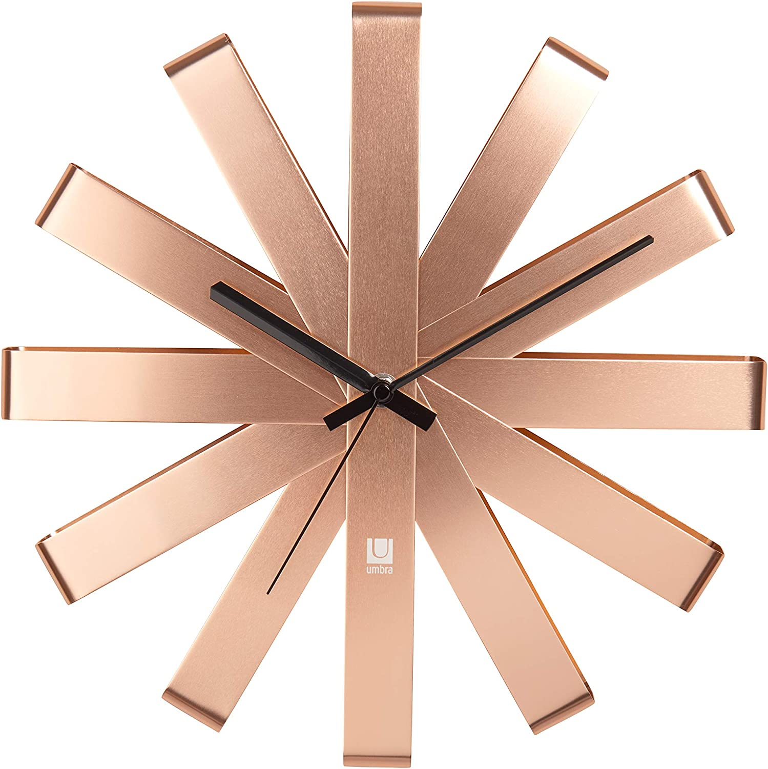 Umbra Ribbon Modern 12-inch Wall Clock, Battery Operated Quartz Movement, Silent Non Ticking Wall Clock, Copper