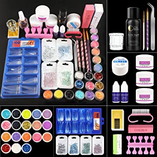Acrylic Nail Kit with Acrylic Powder and Liquid set with Monomer Glitter Nail Tips Manicure Tools Acrylic Nail Kit for Beginners Nail Art Tools Nail Art Decoration