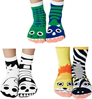 Best Buds Mismatched Socks Kids Box - T-Rex and Triceratops Dinosaurs, Ghost and Skeleton (Glow in the Dark), Lion and Zebra Ages 4-8