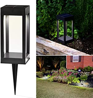 Solar LED Pathway Light - 9 Inch Tall, Cool White or Color-Changing, Modern Outdoor Bollard Lighting, Built-in Solar Pane...