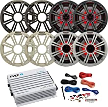 """4X Kicker 6.5"""" OEM Replacement 195W Marine Coaxial 2-Way Multicolor LED Speakers w/White and Charcoal Grilles Bundle w/Pyle 400W 4-Channel Bluetooth Amplifier, Pyle PLMRAKT8 8 Gauge Amp Wiring Kit"""